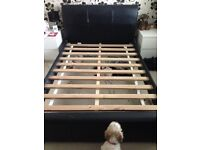 Double bed faux dark brown