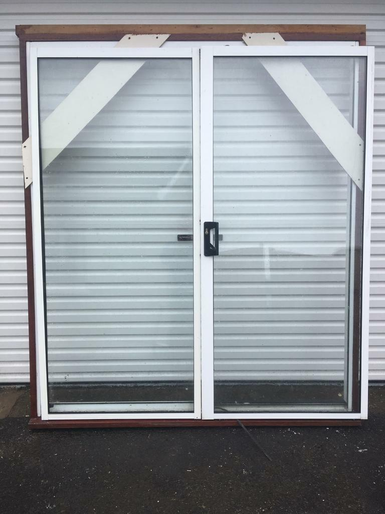 "Aluminium sliding double door with sub framein Ballymena, County AntrimGumtree - Aluminium sliding double door with sub frame , Sub frame would allow you to plaster up to the aluminium frame , 68.5"" wide aluminium white frame 71"" including wood subframe 78.5 tall aluminium white frame 81.5 tall with sub frame Comes with key"