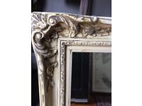 Ornate large cream mirror
