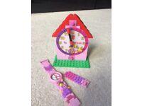 For Sale LEGO Time Teacher Pink Kids Minifigure Link Buildable Watch, Constructible Clock