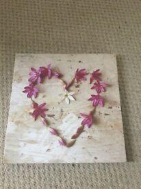 Pretty Flower Heart design Canvas Picture