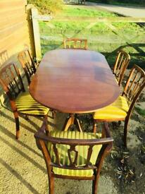 Large Extending Mahogany Dining Table and Six Chairs