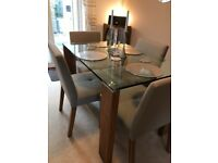 Modern Glass and Walnut Wood Dining Table and Chairs