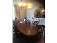 Dining Table with 2 Carvers and 4 Windsor Chairs - Solid Wood