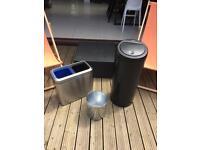 Simplehuman recycling bin, Brabantia touch kitchen bin 30 litre and Brabantia small bin