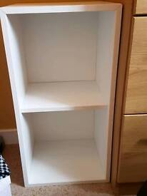 Small white storage unit with 2 other shelves