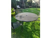 Large metal garden table and 3 chairs
