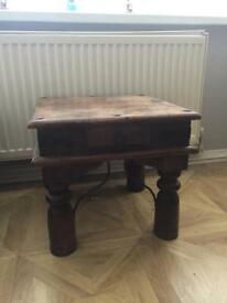 Solid Sheesham/Jali side table with drawer- collect po15