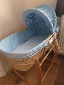 Clair de lune Moses basket with wooden rocking stand