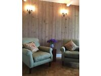 Laura Ashley Sofa and Two Arm Chairs.