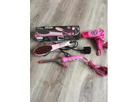 Girls hair acc heat brush, hair dryer, curling tongs