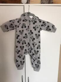 H & M Disney Mickey Baby Gro with Mickey Ears Hood 4-6 Months