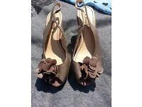 Ladies next sandles shoes size 4 brown leather excellent condition