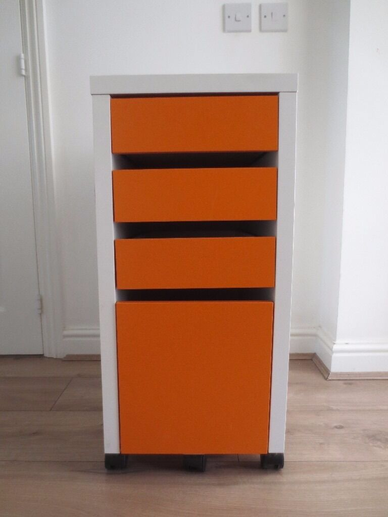 Ikea Micke White Orange Drawer Unit Drop File Storage Filing Cabinet
