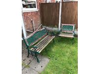 2 iron wooden garden benches