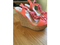 Leather coral wedges