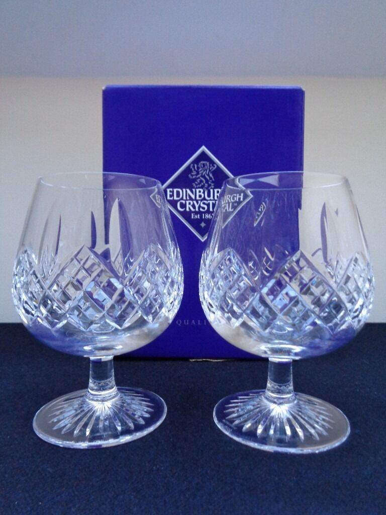 Pair of Edinburgh Crystal Montrose Brandy Glasses Unused In Box