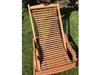 Wooden deck chair, hardwood garden chair