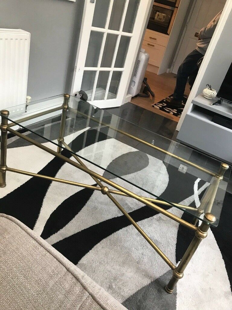 GLASS & BRASS COFFEE TABLE M&S