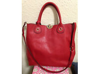 Beautiful Red Italian Leather Purse/Tote/Bag, NEW