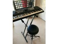Yamaha PSR 175 electronic keyboard, stand and adjustable stool for sale  Fulham, London