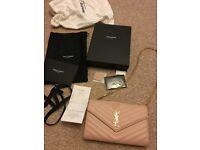 YSL saint laurent shoulder clutch bag damaged genuine pink