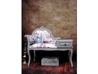 Vintage Telephone Seat Chair Table Painted Shabby Chic - Sold!