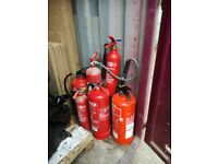 several fire extinguishers