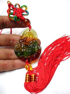 Chinese Oriental Feng Shui Lucky Money Happy Glass Buddha Amulet Charm Tassel
