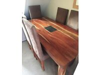 Solid Indian rubber wood dining table and six chairs