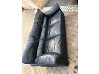 3 and 2 seater black leather sofa