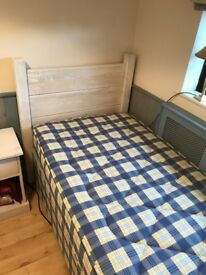 Quality Wood Single Bed with Mattress and Bed side unit
