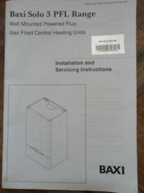 Baxi 3 Solo PFL Range - Boiler Installation & Servicing + User's Operating Instructions - Pokesdown