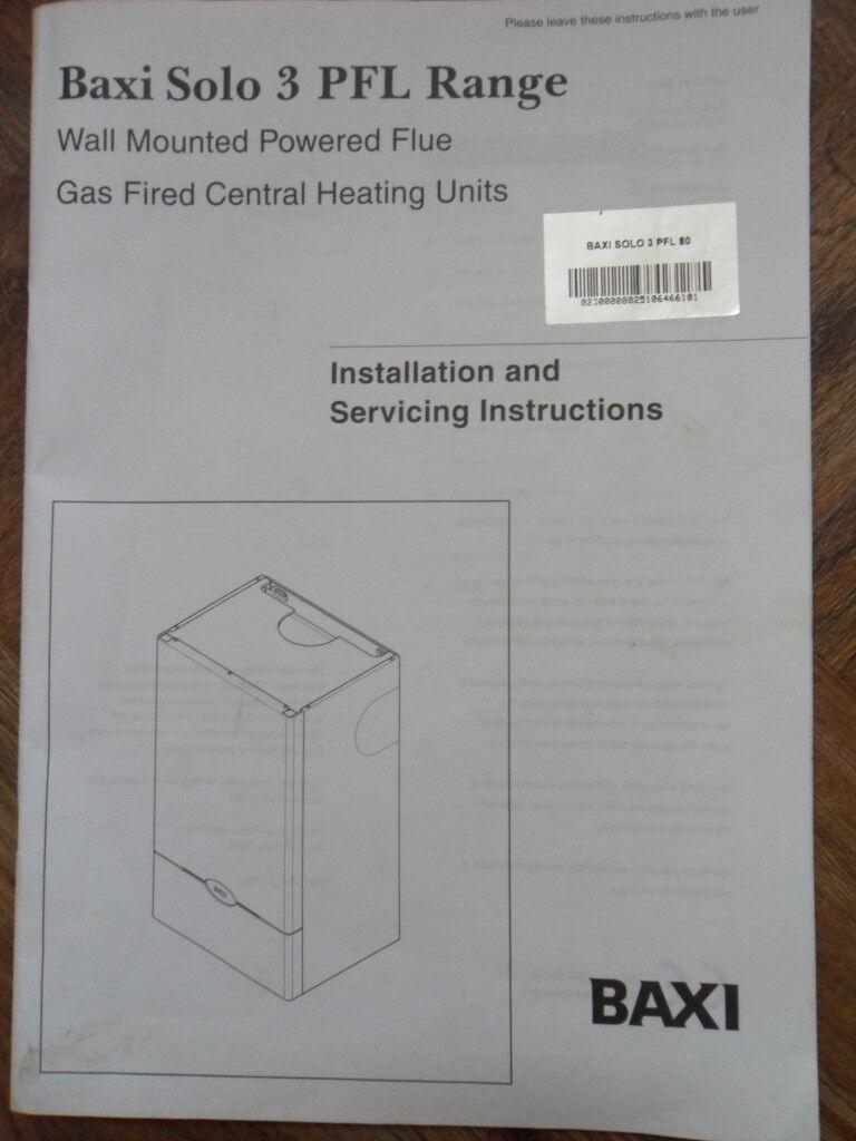 Baxi 3 Solo PFL Range - Boiler Installation & Servicing + User\'s ...