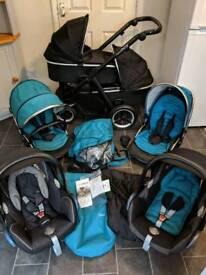 oyster 2 max double twin tandem pram pushchair travel system 3in1 buggy stroller boys newborn blue