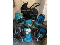 oyster 2 max double twin tandem pram pushchair travel system 3in1 buggy stroller boys newborn blue