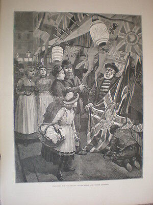 Preparing for Queen's Jubilee buying flags and Chinese lanterns 1887 old print