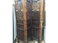 antique 4 panel wood room divider