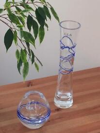 LSA glass vases (x2) hand blown - perfect condition