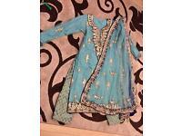 Mint & Blue Indian Pakistani Shalwar Kameez Suit Trouser Wedding Shaadi Bridal