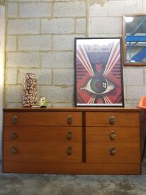 Mid Century Long Retro Chest of Drawers by Stag