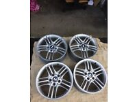 """BMW 17""""Z4 Alloys Set for Sale.Width 9j.Good condition with middle badges.Colour Silver"""