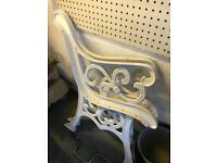 Cast iron bench end recently powered coated