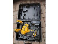 DeWalt 18 volt cordless nail gun including 2 no 5 amp batteries and charger
