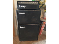 "Laney RBH800 Amp Head 300 Watt Bass Amp laney 2 x 9 Speaker Cabinet one 15"" laney Speaker Cabinet"