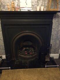 Large cast iron fireplace