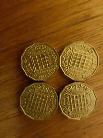 4 mint uncirculated brass threepenny bits 50 years old 1967