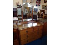 Beautiful 2 over 2 Drawer Dressing Chest with Triple Mirror