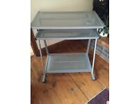 Silver Metal Computer Desk with Sliding Keyboard Shelf - Must Go!!!