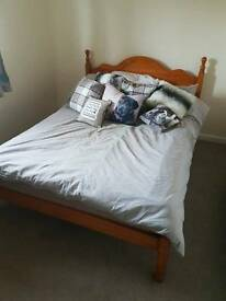 Pine double bed - frame and matress